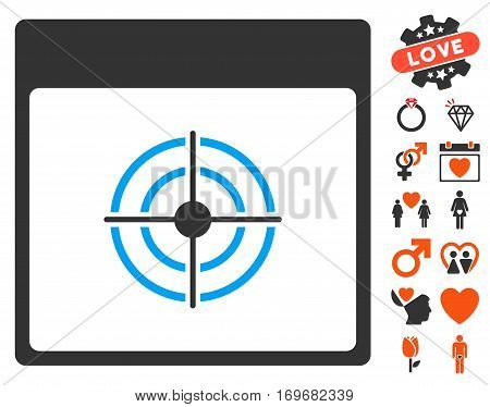 Bullseye Calendar Page pictograph with bonus valentine design elements. Vector illustration style is flat iconic symbols for web design app user interfaces.