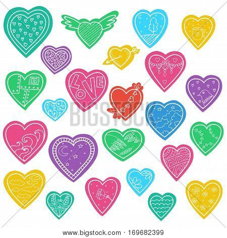 Set of vector sketch hearts isolated on white. Valentines days stickers.