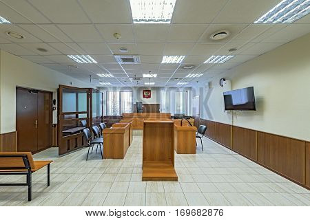 Moscow Russian Federation February 02 2017: Empty courtroom interior.