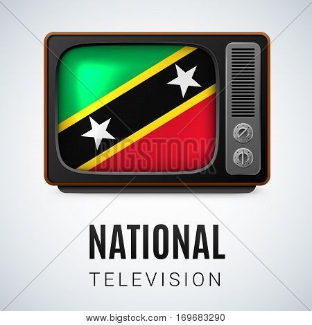 Vintage TV and Flag of Federation of Saint Kitts and Nevis as Symbol National Television. Tele Receiver with flag design