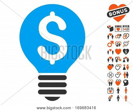 Business Patent Bulb icon with bonus dating pictures. Vector illustration style is flat iconic elements for web design app user interfaces.