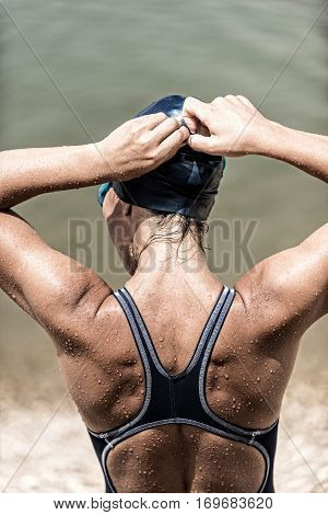 Triathlete , back view, , toned image, vertical image