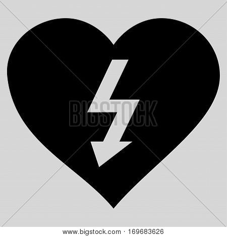 Power Love Heart flat icon. Vector black symbol. Pictograph is isolated on a light gray background. Trendy flat style illustration for web site design logo ads apps user interface.