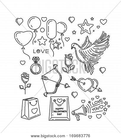 Line icons set for Happy Valentine's Day and other romantic events. I love you. Dove, bow and arrow of Cupid, hearts, flowers, roses, diamond ring. Vector illustration