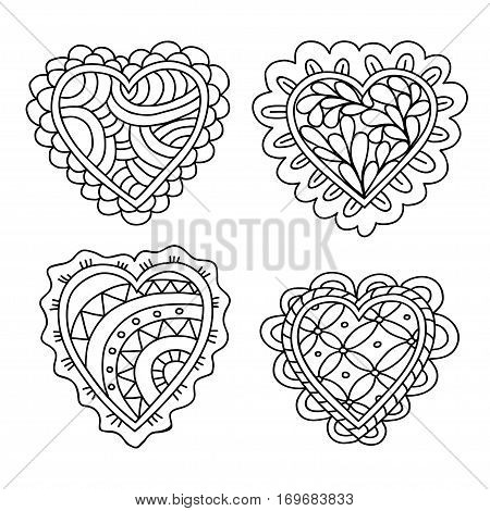 Abstract hand drawn doodle hearts decoration set for Valentine day or Wedding day. Vector illustration.