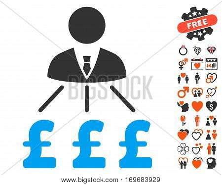 Businessman Pound Expenses pictograph with bonus decoration symbols. Vector illustration style is flat iconic symbols for web design app user interfaces.