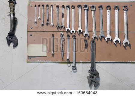 set of previously used wrenches