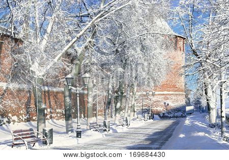 Nizhny Novgorod Kremlin walls, in Nizhny Novgorod city in winter time, Russia