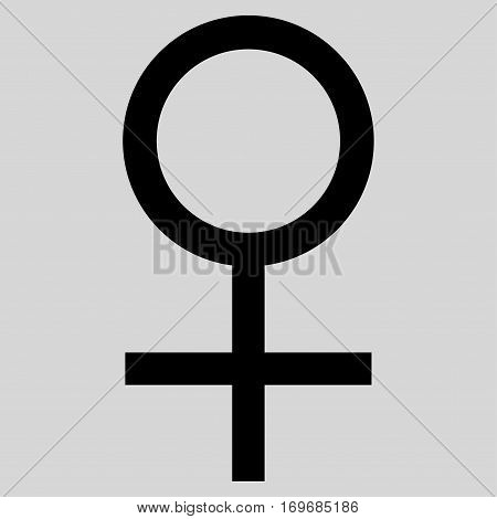 Venus Female Symbol flat icon. Vector black symbol. Pictograph is isolated on a light gray background. Trendy flat style illustration for web site design logo ads apps user interface.