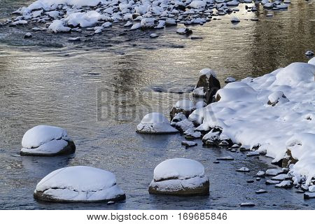 Yellowstone River In Winter, Yellowstone National Park