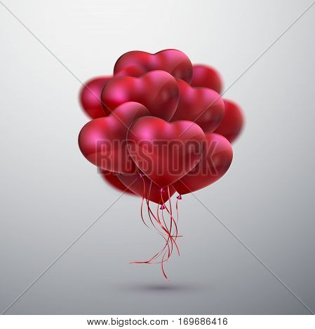 Balloon Hearts. Vector holiday illustration of flying bunch of red balloon hearts. Happy Valentines Day. Festive decoration