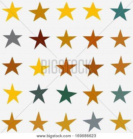 Stars Collection. Star set in various shapes, sizes and colors. Vector