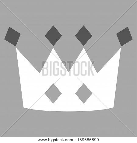 Crown flat icon. Vector bicolor dark gray and white symbol. Pictogram is isolated on a silver background. Trendy flat style illustration for web site design logo ads apps user interface.
