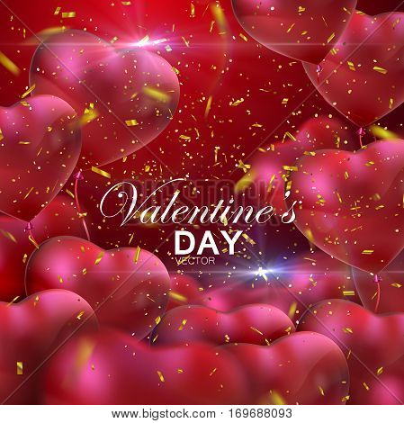 Happy Valentines Day. Vector holiday illustration of flying bunch of red balloon hearts and golden glittering confetti. Valentines Day flying hearts. Festive romantic decoration. Wedding concept