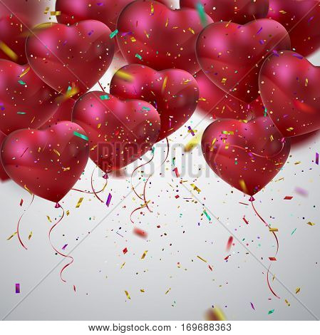 Balloon Hearts. Vector holiday illustration of flying bunch of red balloon hearts and sparkling confetti. Happy Valentines Day. Festive romantic decoration. Wedding concept