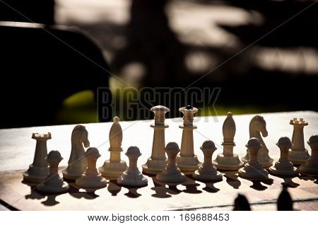 Chess Pieces On The Chess Board.