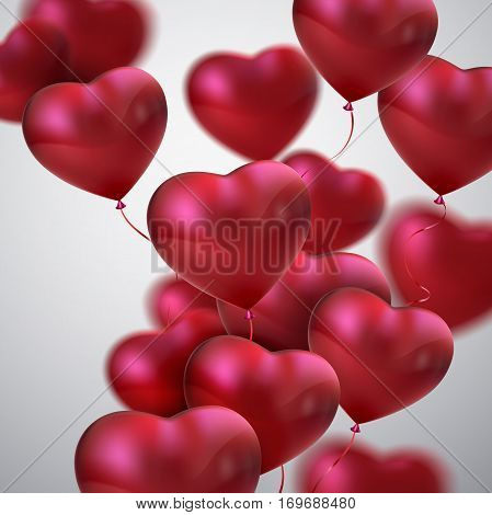 Balloon Hearts. Vector holiday illustration of flying bunch of red balloon hearts. Happy Valentines Day. Festive decoration. Wedding concept