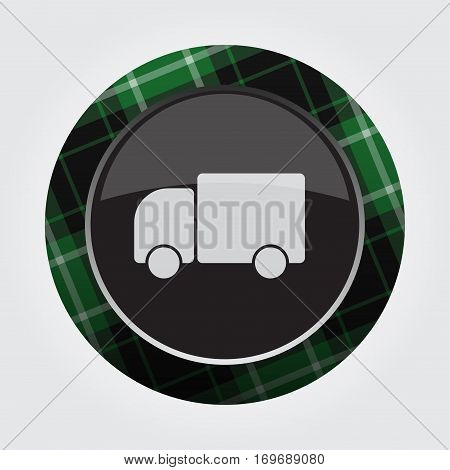 black isolated button with green black and white tartan pattern on the border - light gray cute rounded car icon in front of a gray background