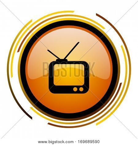Tv vector orange web icon in eps10.