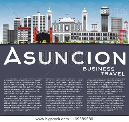 Asuncion Skyline with Gray Buildings, Blue Sky and Copy Space. Vector Illustration. Business Travel and Tourism Concept with Modern Architecture. Image for Presentation Banner Placard and Web Site.