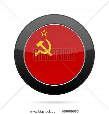 National flag the Union of Soviet Socialist Republics. Shiny black round button with shadow.
