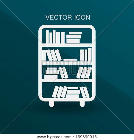 shelves with books vector illustration