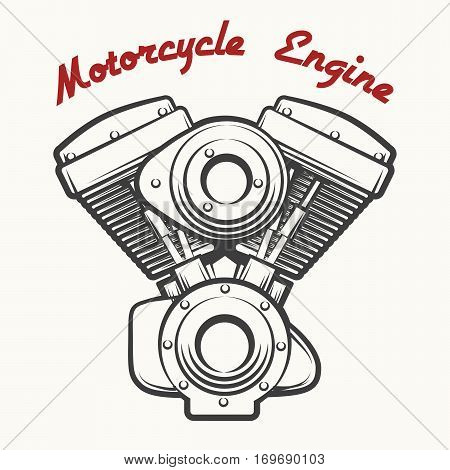 Motorcycle Engine label or emblem drawn in retro engraving style. Vector illustration.