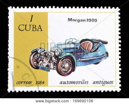 CUBA - CIRCA 1984 : Cancelled postage stamp printed by Cuba, that shows Morgan car.