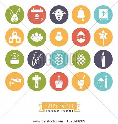Easter Symbols Round Icon Set. Collection of 20 Happy Easter Icons in color circles