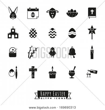 Easter Symbols Glyph Icon Set. Collection of 20 Happy Easter black Icons on white background