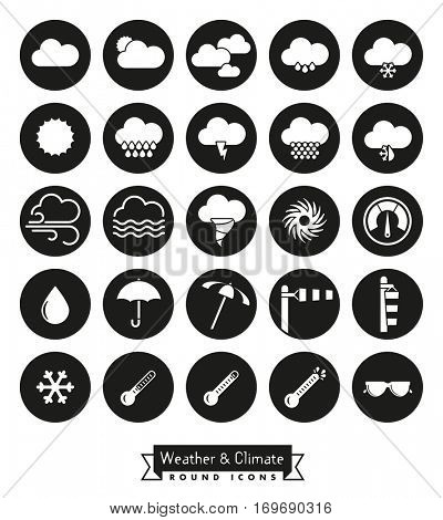 Weather and climate round icons set. Collection of weather and climate related circular black vector icons