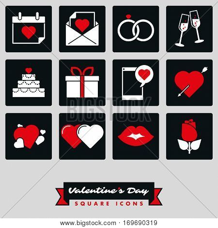 Happy Valentines Day Square Icon set. Collection of twelve Valentines Day, Love and Romance related square black and white icons with red accent color