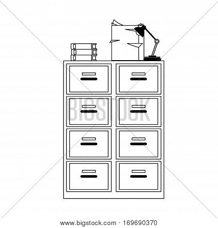 files cabinet icon over white background. vector illustration