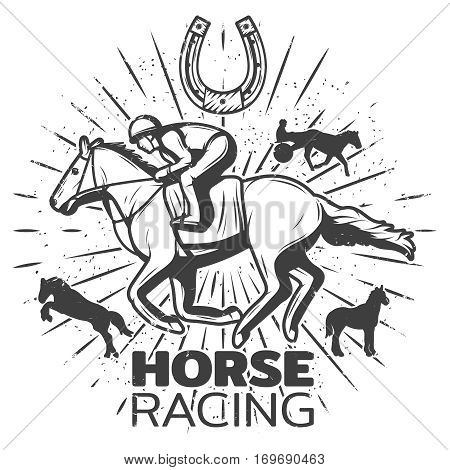 Vintage monochrome equestrian label with jockey riding horse stallion silhouettes and horseshoe isolated vector illustration