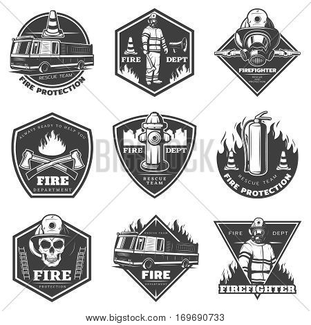 Monochrome professional firefighting labels set with fireman truck and rescue equipment in vintage style isolated vector illustration