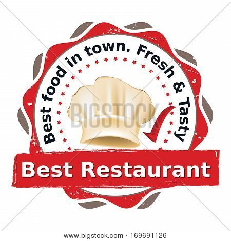 Best Restaurant. Best food in town. Fresh and Tasty - printable advertising stamp / label for food service industry