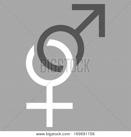 Sex Symbol flat icon. Vector bicolor dark gray and white symbol. Pictograph is isolated on a silver background. Trendy flat style illustration for web site design logo ads apps user interface.