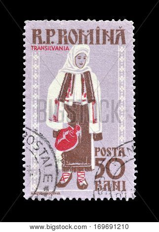 ROMANIA - CIRCA 1958 : Cancelled postage stamp printed by Romania, that shows National costume from Transilvania.