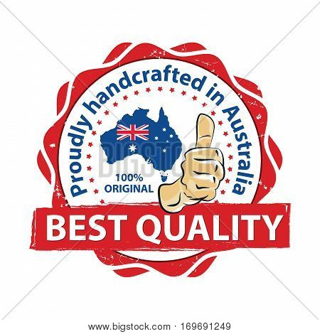 Best Quality. Proudly handcrafted in Australia. 100% original - thumbs up printable stamp / label. CMYK colors