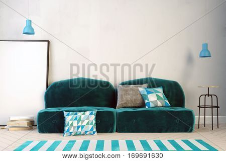 3d illustration interior with green velour sofa. wall mock up