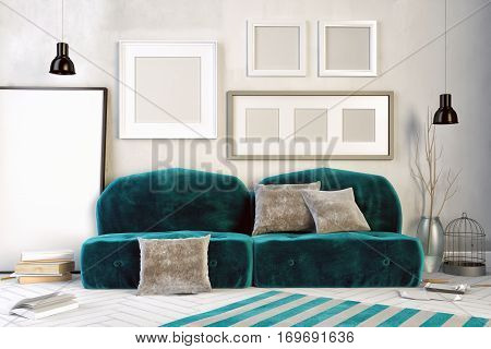 3d illustration interior with green velour sofa. frame mock up
