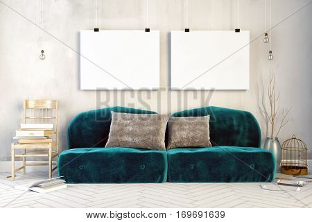 3d illustration interior with green velour sofa. canvas mock up