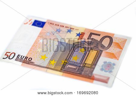 50 euro note on white background