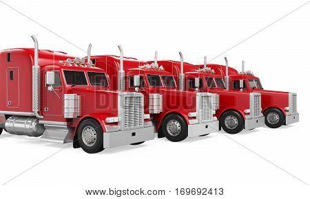 Trucks Fleet Isolated isolated on white background. 3D render