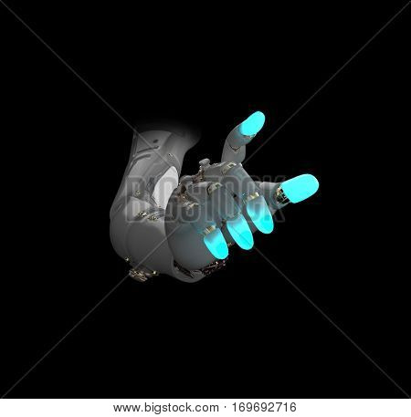 glowing artificial hand, 3d illustration