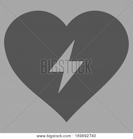 Heart Power flat icon. Vector dark gray symbol. Pictograph is isolated on a silver background. Trendy flat style illustration for web site design logo ads apps user interface.