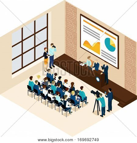 Isometric business conference concept with presentation public speakers auidience and reporters vector illsutration