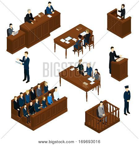 Isometric people judicial system set with judge defendant jury attorney policeman and witnesses interrogation isolated vector illustration