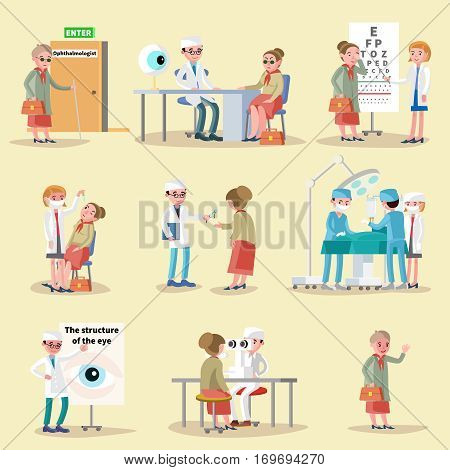 Ophthalmology elements collection with doctors patients eye diagnostic and medical treatment isolated vector illustration