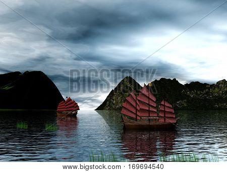 Digital art of chinese junks in the lake, 3d rendering,
